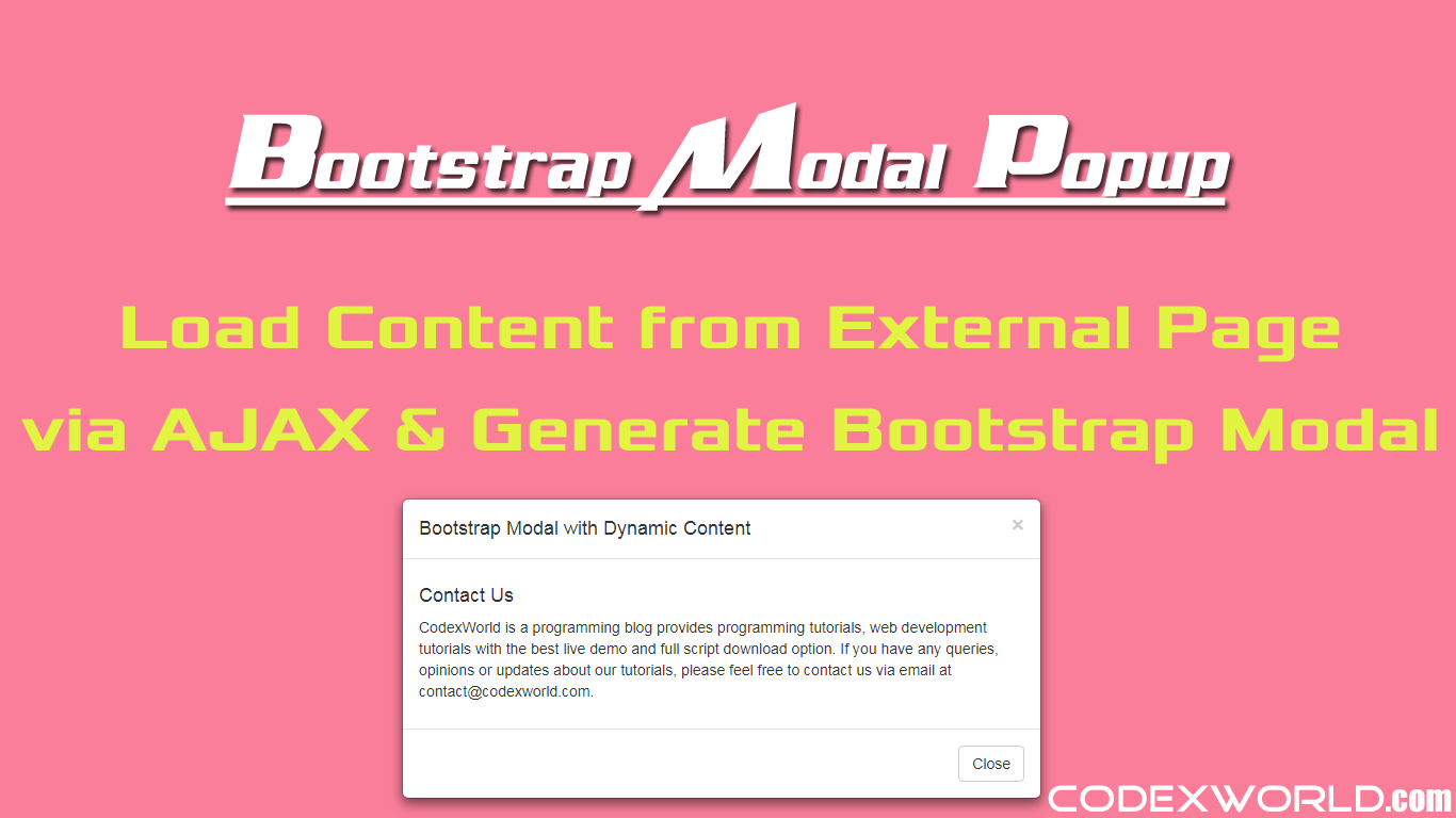 How to Load Dynamic Content in Bootstrap Modal - CodexWorld