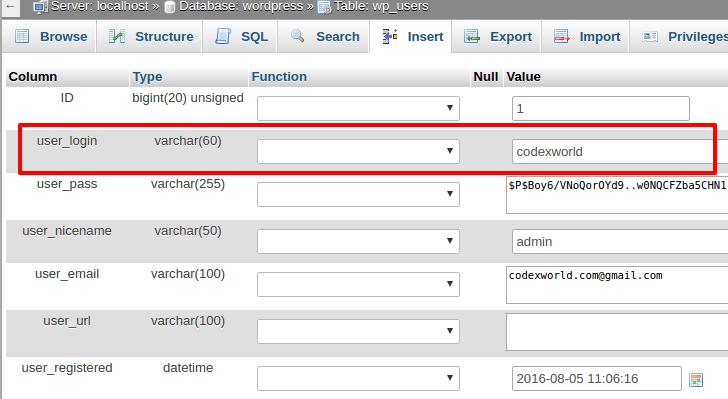 wordpress-admin-username-change-cpanel-database-codexworld