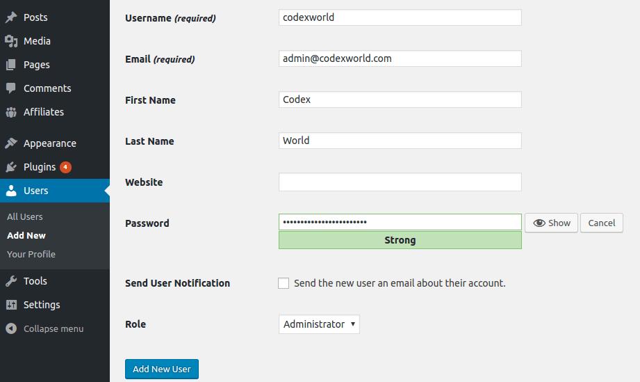 wordpress-administrador-nuevo-usuario-nombre de usuario-role-codexworld