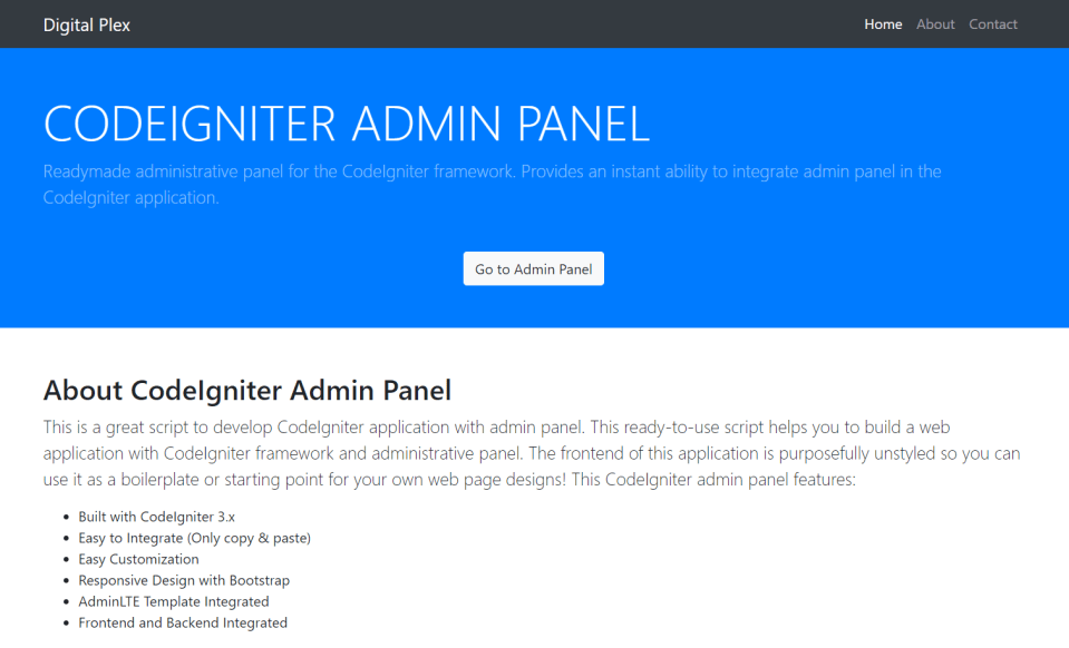 CodeIgniter Admin Panel - CodexWorld