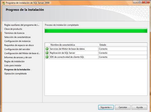 Como instalar SQL Server 2008. Finalización