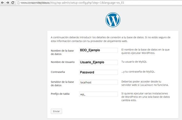 Instalación WordPress - Conexión Base de Datos