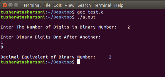 C Program To COnvert Binary To Decimal Number