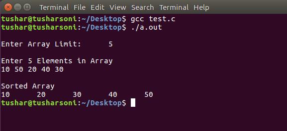 Sort Array Elements using Selection Sort Algorithm in C Programming