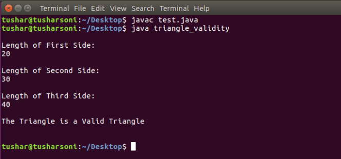 Java Program To Check if Triangle is valid or not