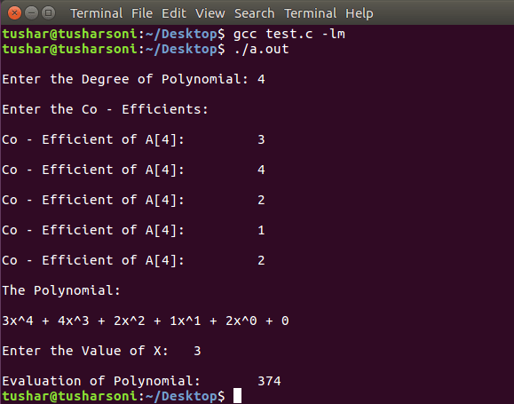C Program To Evaluate A Polynomial with and without Function and Horner's Method