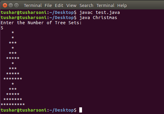 Java Program To Display Christmas Tree