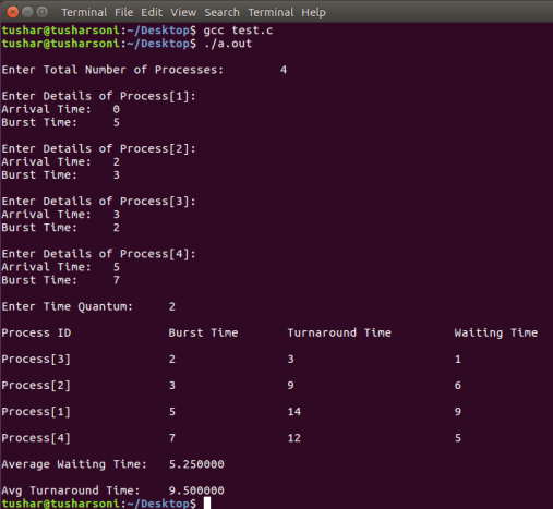C Program To Implement Round Robin Scheduling Algorithm using Arrival Time and Array
