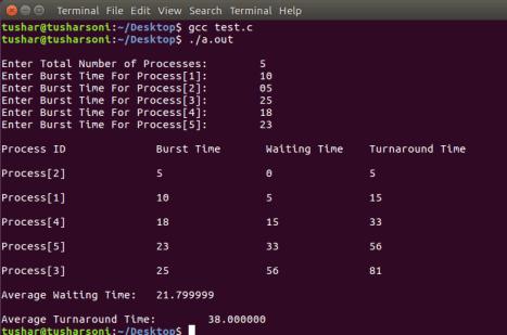 shortest job first scheduling program in C Programming with Preemptive Scheduling Program in OS