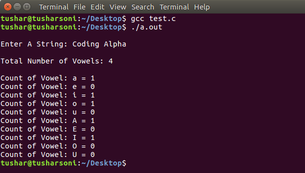 C Program To Count Vowels in String using If Else and Swtch Case