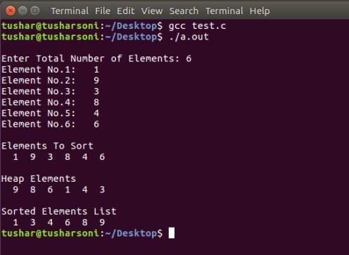 Heap Sort Program in C Programming using Heapify and Arrays