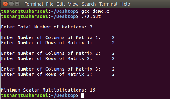 C Program For Matrix Chain Multiplication