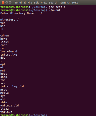 C Program To List Contents of Directory using dirent.h