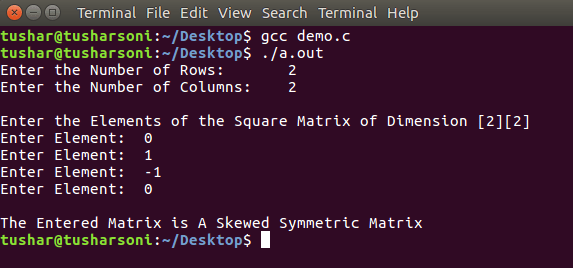 C Program To Check if a Matrix is a Skew Symmetric Matrix or Not