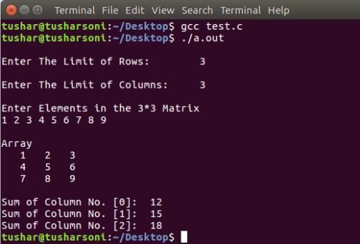 C Program To Find Row Sum and Column Sum