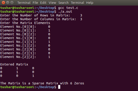 Check Sparse Matrix in C Programming with 3 Dimensional Arrays