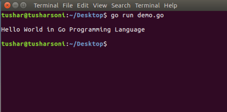 Go Program To Print Hello World in Linux Ubuntu Terminal