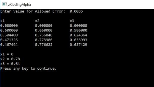 C Program For Gauss Seidel Method with Algorithm