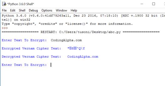 Vernam Cipher Python Program [Explained] | CodingAlpha