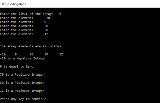 c program to find positive or negative number in array using For Loop