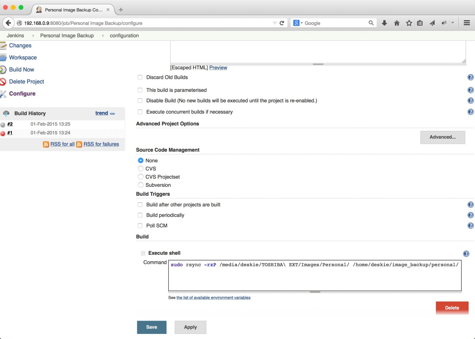 Sync Two Drives Automatically with Jenkins