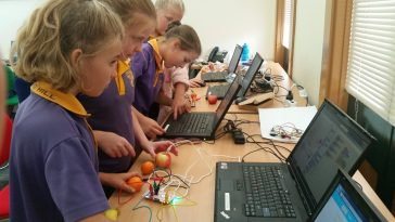 girls using makey-makey