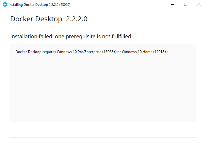 windows 10 20H1 update docker desktop fail