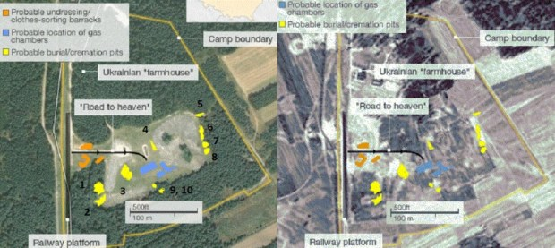 Two composite aerial images of Treblinka