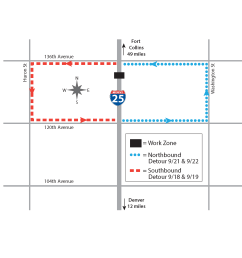 21 crews will close i 25 between 136th avenue and 120th avenue as they install new storm sewer infrastructure beneath the highway  [ 2200 x 1700 Pixel ]