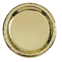 9 inch metallic paper plates gold
