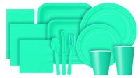 Caribbean teal tableware plastic and paper plates, napkins
