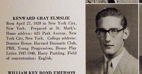 Kenward Elmslie, Harvard 1950
