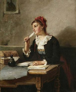 Painting of a woman writing a letter