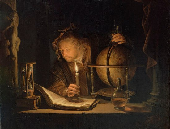 Man from the Age of Discovery looking at a text by candlelight