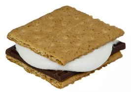English: A S'mores made with a half a Hershey'...