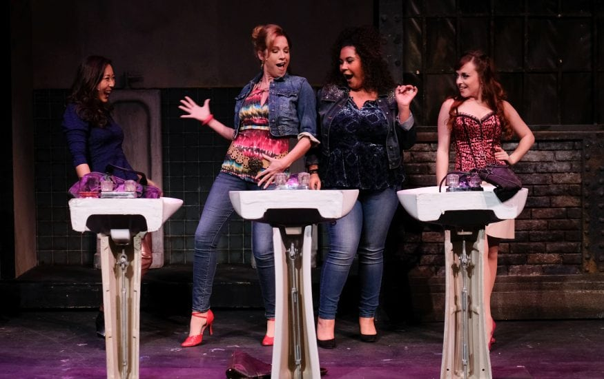 "Stella Kim, Joy Yandell, Sydney Joyner and Beth Alison in San Diego Musical Theatre's ""The Full Monty."" (Ken Jacques)"