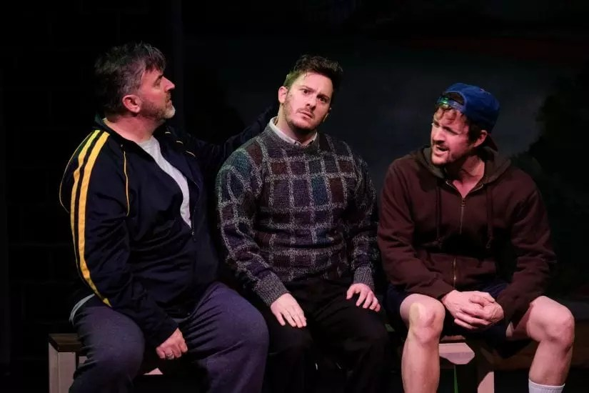 "Danny Stiles, Jonathan Sangster, and Steven Freitas in ""The Full Monty"" (Ken Jacques)"