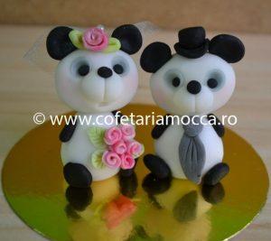 figurina ursi panda din martipan pentru nunta