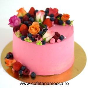 tort aniversar cu aranjament floral (2)