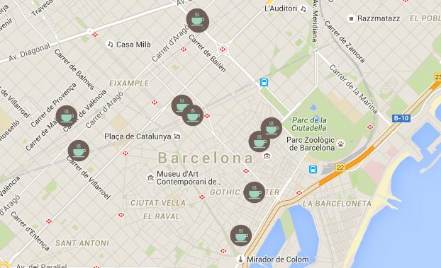Mapa de cafeterias con Wi-Fi donde trabajar en Barcelona