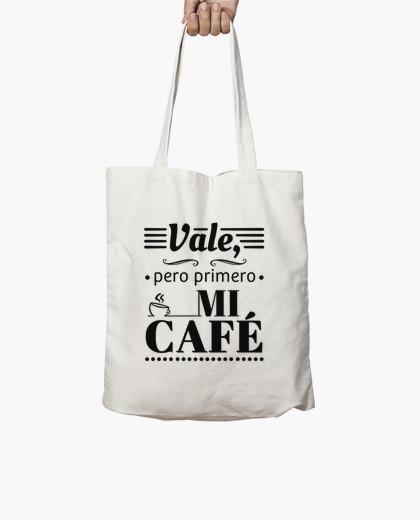Bolsa de tela en algodón de dos asas - Vale, pero primero mi café