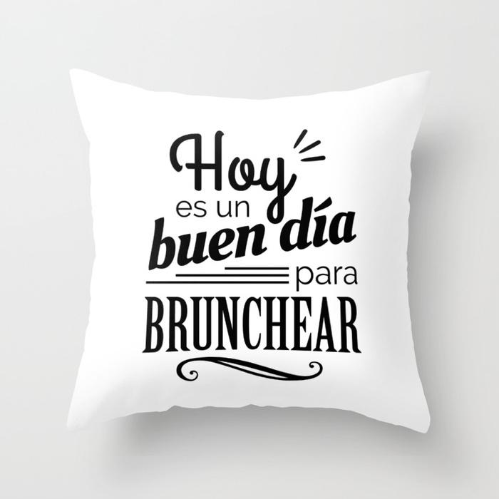 Cojín regalo para brunch lover - Hoy es un buen día para brunchear - Blanco y negro