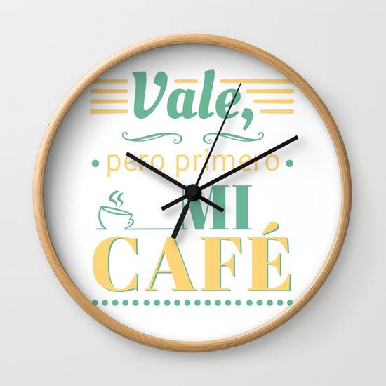 Reloj pared regalo para brunch lover - Vale, pero primero mi café - Blanco y color