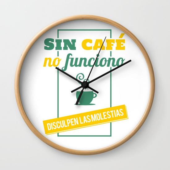 Reloj pared regalo para brunch lover - Sin café no funciono, disculpen las molestias - Blanco y color