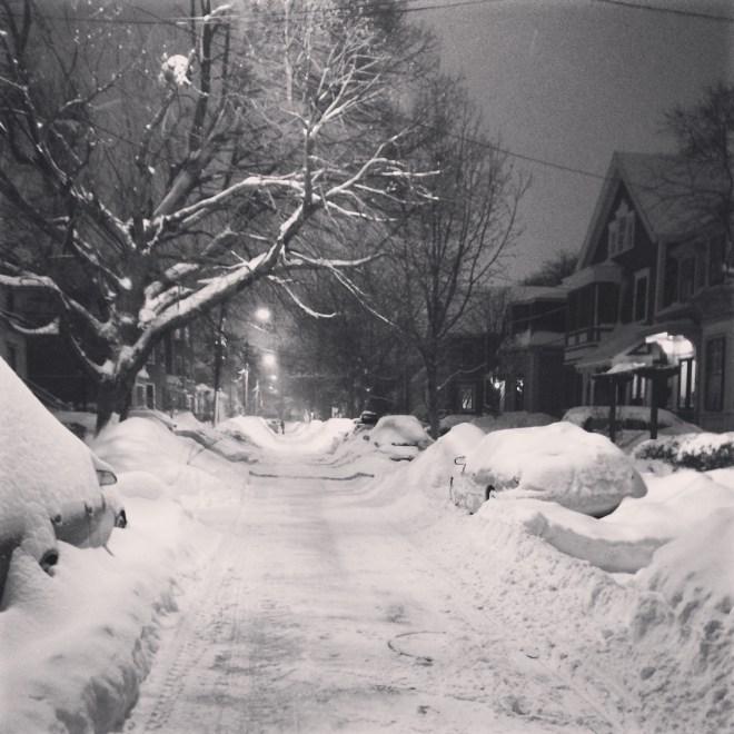 snowy street (b&w)