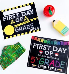 Social Distancing First Day Of School Signs - [ 1024 x 1024 Pixel ]