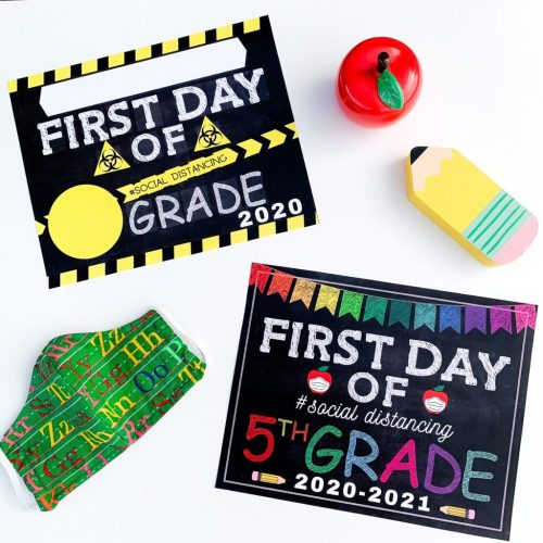small resolution of Social Distancing First Day Of School Signs -
