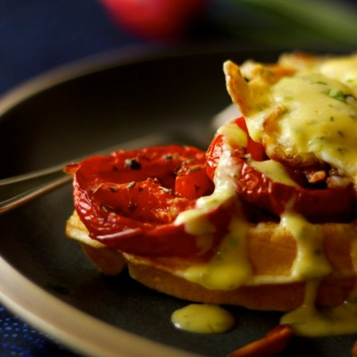 Belgian Waffle Benedict with Roasted Tomatoes