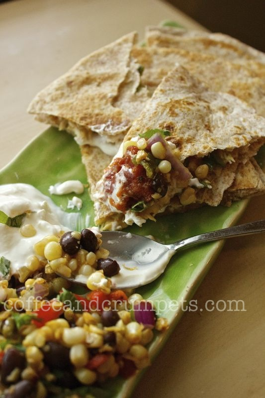 roasted green chilli and cheese quesadillas