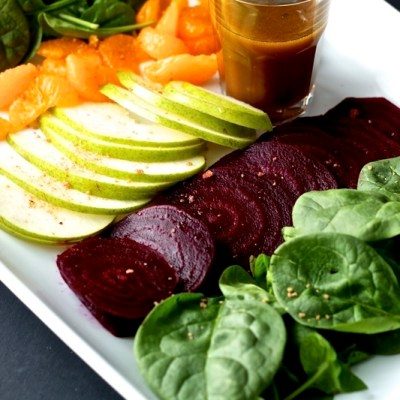 Spinach, Beet and Pear Salad with Pomegranate Vinaigrette